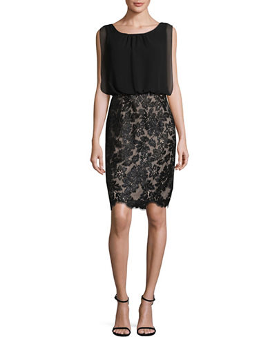 Calvin Klein Blouson Lace Floral Dress-BLACK-8