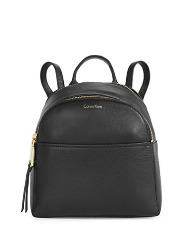 Calvin Klein Pebble Leather Backpack-BLACK-One Size