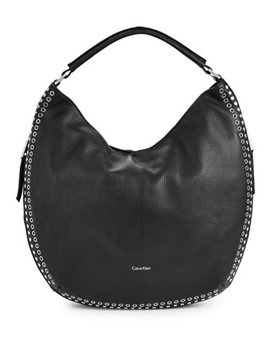 Calvin Klein Studded Leather Hobo Bag-BLACK-One Size