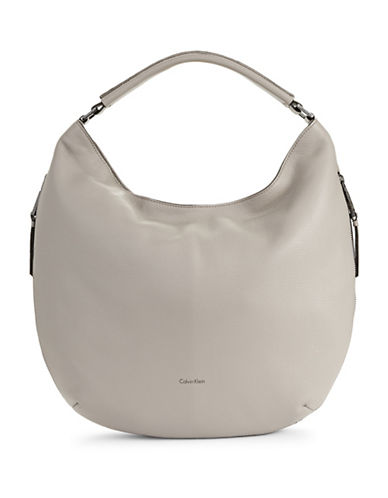 Calvin Klein Leather Hobo Bag-GREY-One Size