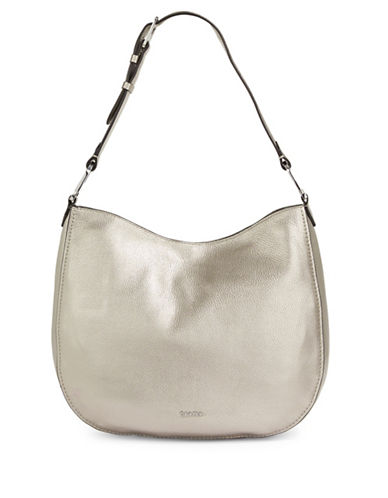 Calvin Klein Erica Pebbled Leather Hobo Bag-SILVER-One Size