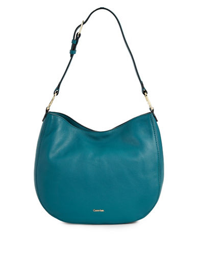 Calvin Klein Erica Pebbled Leather Hobo Bag-TEAL-One Size