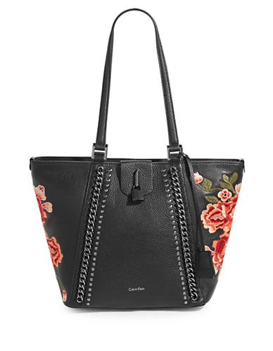 Calvin Klein Embroidered Floral Leather Tote-GREY-One Size