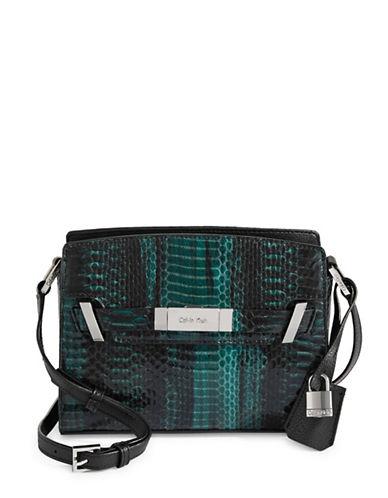 Calvin Klein Python Pattern Crossbody Bag-GREEN-One Size