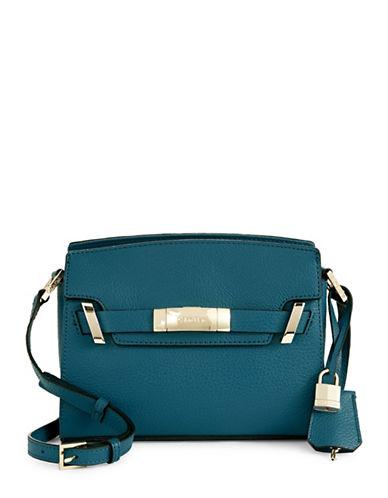 Calvin Klein Pebble Leather Flap Crossbody-GREEN-One Size