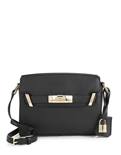 Calvin Klein Pebble Leather Flap Crossbody-BLACK-One Size