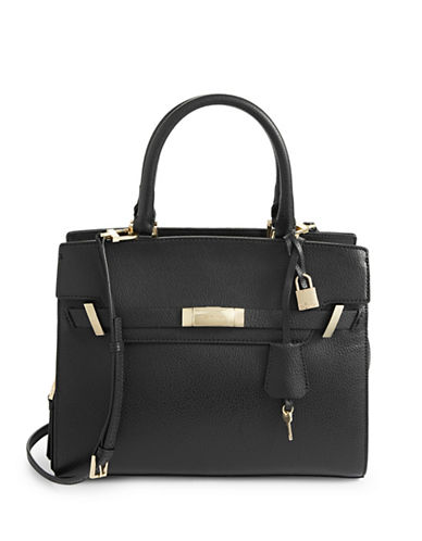 Calvin Klein Flap Cypress Satchel-BLACK-One Size