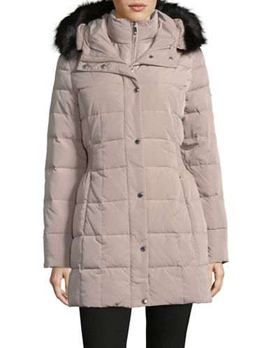 Calvin Klein Faux Fur-Trimmed Down Jacket-THISTLE-Large