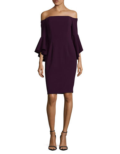 Calvin Klein Off-the-Shoulder Sheath Dress-PURPLE-6