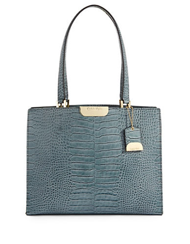 Calvin Klein Croco-Embossed Leather Tote-MULTI-One Size