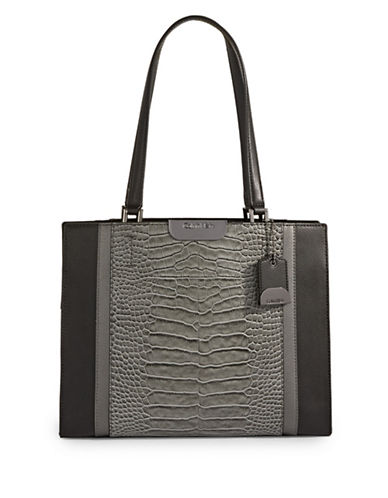Calvin Klein Croco-Embossed Leather Tote-GREY-One Size