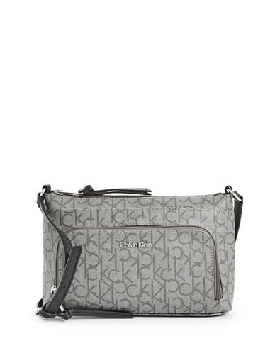 Calvin Klein Printed Faux Leather Crossbody Bag-GREY-One Size