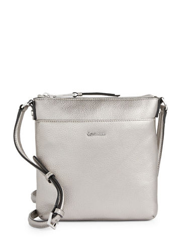Calvin Klein Classic Pebbled Leather Crossbody-SILVER-One Size