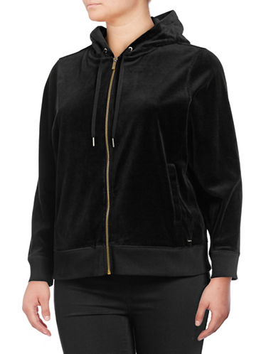 Calvin Klein Plus Velvet Hooded Jacket-BLACK-0X
