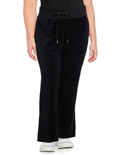 Calvin Klein Plus Velour Wide-Leg Pants-BLACK-0X