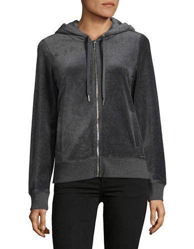Calvin Klein Velour Drawstring Hoodie-GREY-X-Large