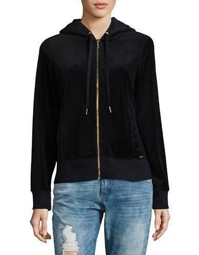 Calvin Klein Velour Drawstring Hoodie-BLACK-X-Small
