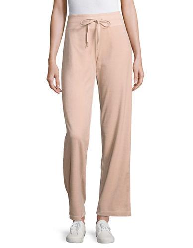 Calvin Klein Drawstring Wide Leg Velour Pants-PINK-Large