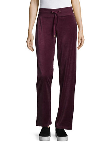 Calvin Klein Drawstring Wide Leg Velour Pants-RED-Large