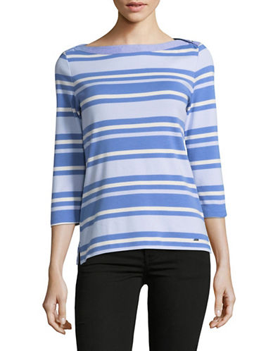Tommy Hilfiger Boat Neck T-Shirt-BLUE-Large