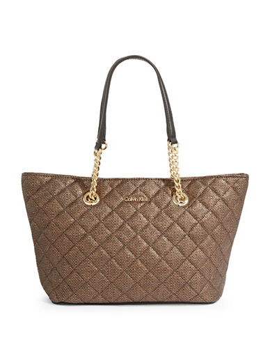 Calvin Klein Quilted Metallic Tote-BRONZE-One Size