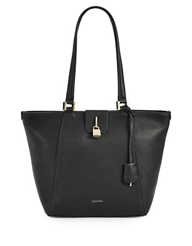 Calvin Klein Pebbled Leather Tote with Padlock-BLACK-One Size