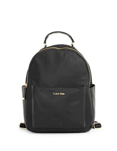 Calvin Klein Faux Leather Backpack-BLACK-One Size