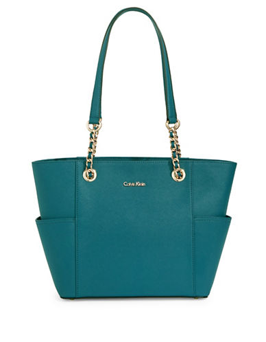 Calvin Klein Key Items Leather Tote-CYPRESS-One Size