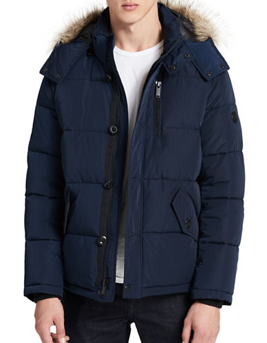 Calvin Klein Faux Fur Trim Parka-BLUE-Large
