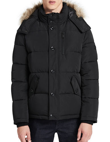 Calvin Klein Faux Fur Trim Parka-BLACK-Small