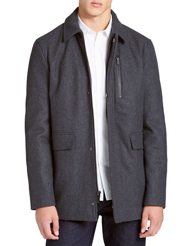 Calvin Klein Wool-blend Coat-GREY-Medium