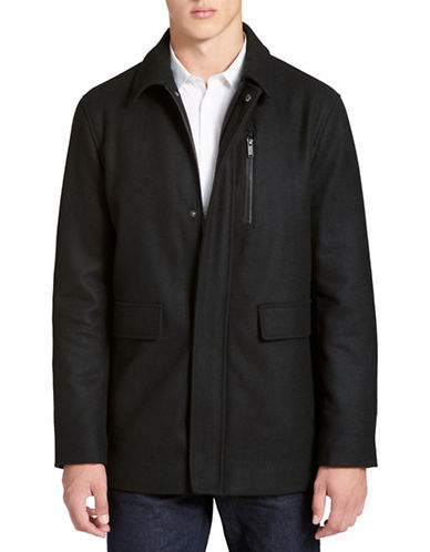 Calvin Klein Wool-blend Coat-BLACK-X-Large