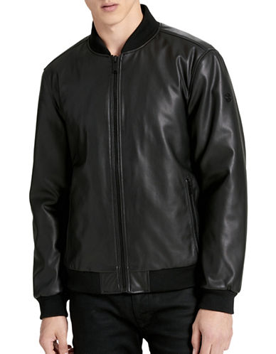 Calvin Klein Zip-Front Bomber Jacket-BLACK-Small