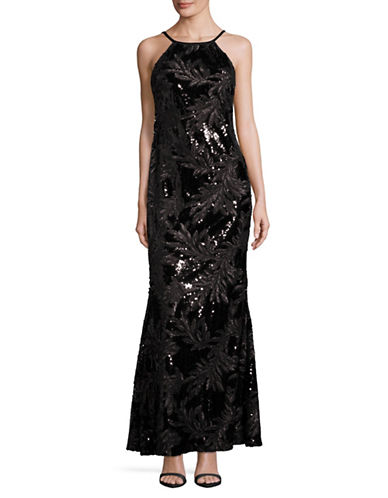 Calvin Klein High Neck Sequin Gown-BLACK-12