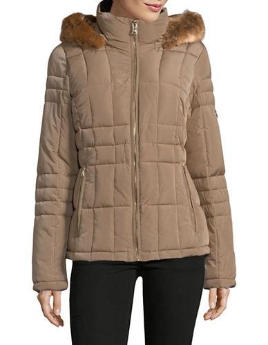 Calvin Klein Faux Fur Hooded Quilted Jacket-BEIGE-Medium 89810277_BEIGE_Medium
