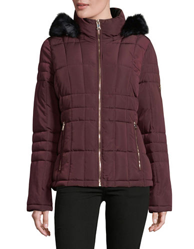 Calvin Klein Faux Fur Hooded Quilted Jacket-RED-Medium