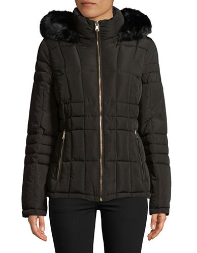 Calvin Klein Faux Fur Hooded Quilted Jacket-BLACK-Small 89810260_BLACK_Small