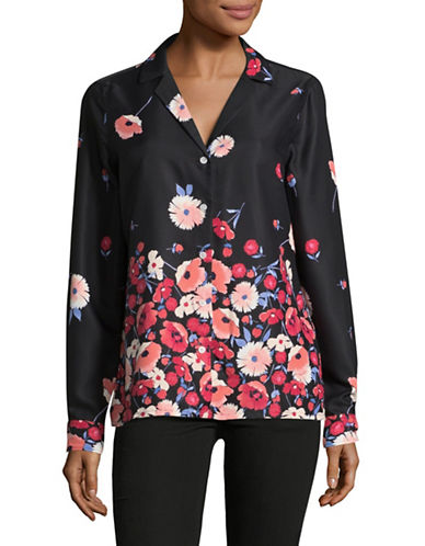 Tommy Hilfiger Printed Long Sleeve Blouse-BLACK MULTI-Large