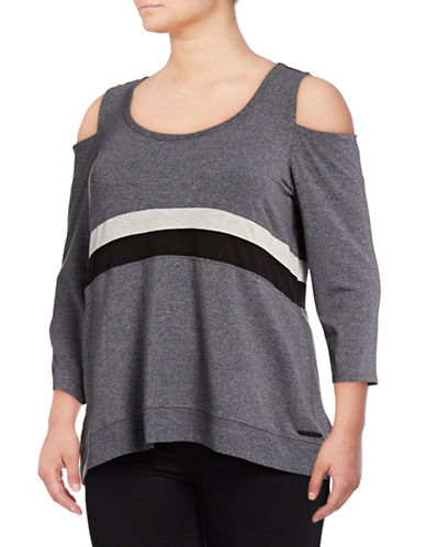 Calvin Klein Performance Plus Tri-Tone Cold Shoulder Top-GREY-2X 89417154_GREY_2X