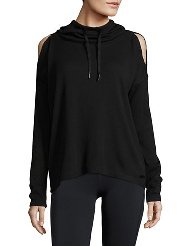 Calvin Klein Performance Waffle Knit Hoodie-BLACK-Small 89581389_BLACK_Small