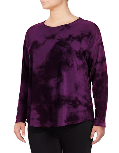Calvin Klein Performance Plus Tie-Dye Drop-Shoulder Top-PURPLE-3X