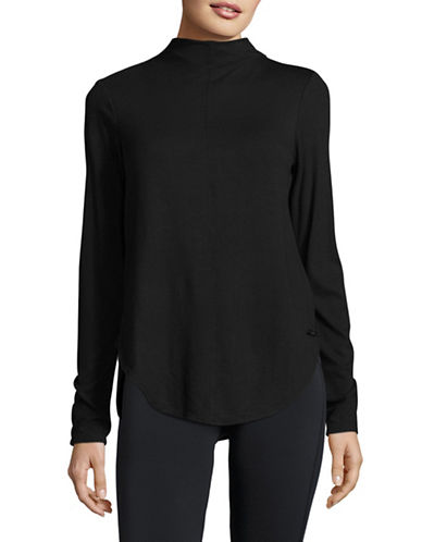 Calvin Klein Performance Tonal Colourblock Hi-Lo Sports Top-BLACK-Medium