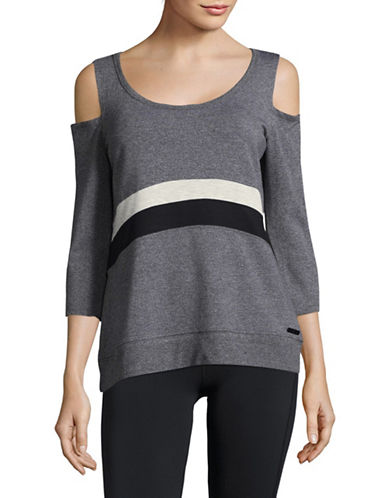 Calvin Klein Performance Tonal Colourblock Hi-Lo Sports Top-GREY-X-Large