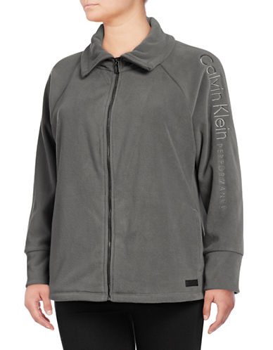 Calvin Klein Performance Plus Plus Embroidered Logo Jacket-OLIVE-1X
