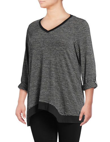 Calvin Klein Performance Plus Striped V-Neck Pullover-GREYCOMBO-3X 89417173_GREYCOMBO_3X