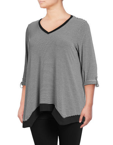 Calvin Klein Performance Plus Striped V-Neck Pullover-BLACK COMBO-1X 89417168_BLACK COMBO_1X