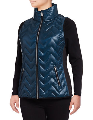 Calvin Klein Performance Plus Down Filled Chevron Quilted Vest-BLUE-1X