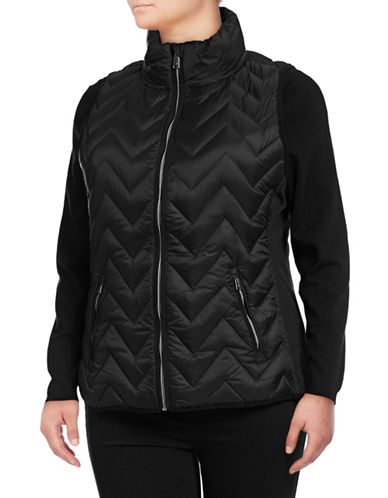Calvin Klein Performance Plus Down Filled Chevron Quilted Vest-BLACK-1X