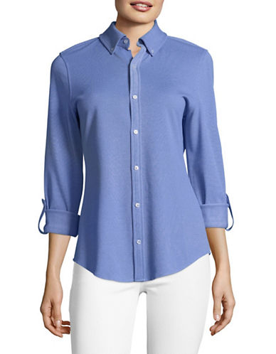 Tommy Hilfiger Roll-Sleeve Pique Knit Shirt-BLUE-Large