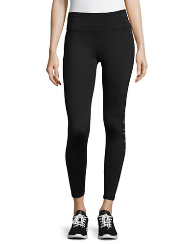 Calvin Klein Performance Print Blocked Capri Leggings-GUNMETAL COMBO-Large